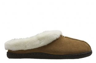 Clarks Home Classic Tan Suede Womens Slippers
